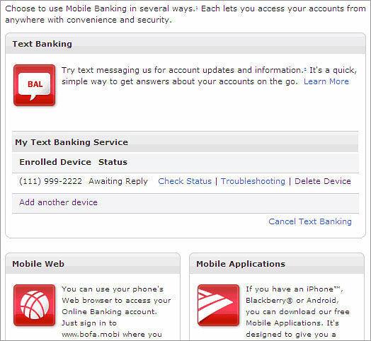 Text Banking Device Status Display Live Site Screenshot