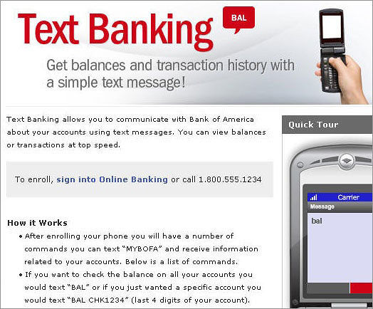 Text Banking Marketing Page Live Site Screenshot