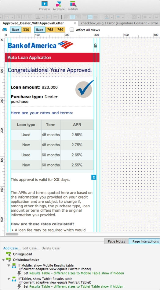 Auto Loans Axure Prototyping Screenshot