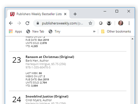 Thank you for making RANSOM at CHRISTMAS a Publisher's Weekly Bestseller!