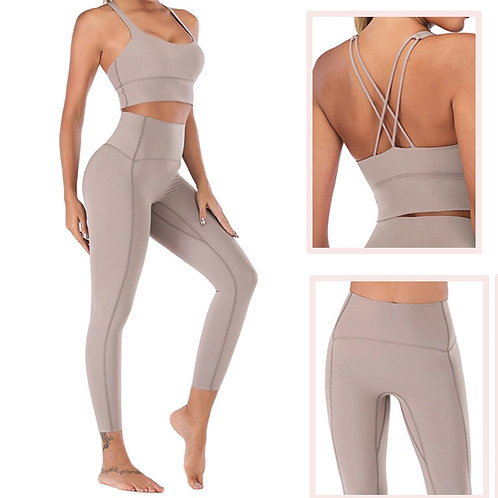 Naked-Feel Yoga Leggings Set for Women Fitness - High Waist  Gym  Clothing