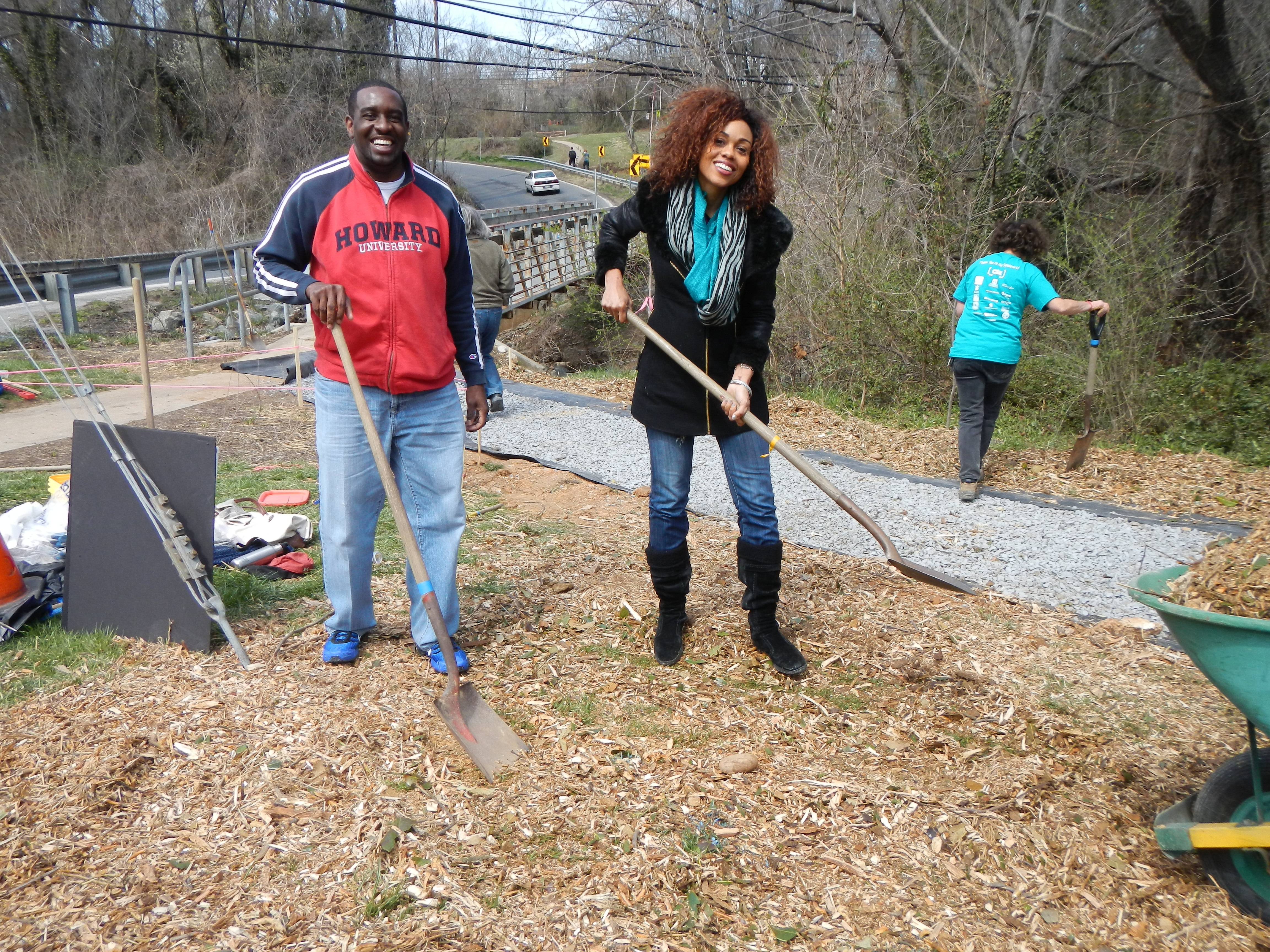 Mayor James at rain garden