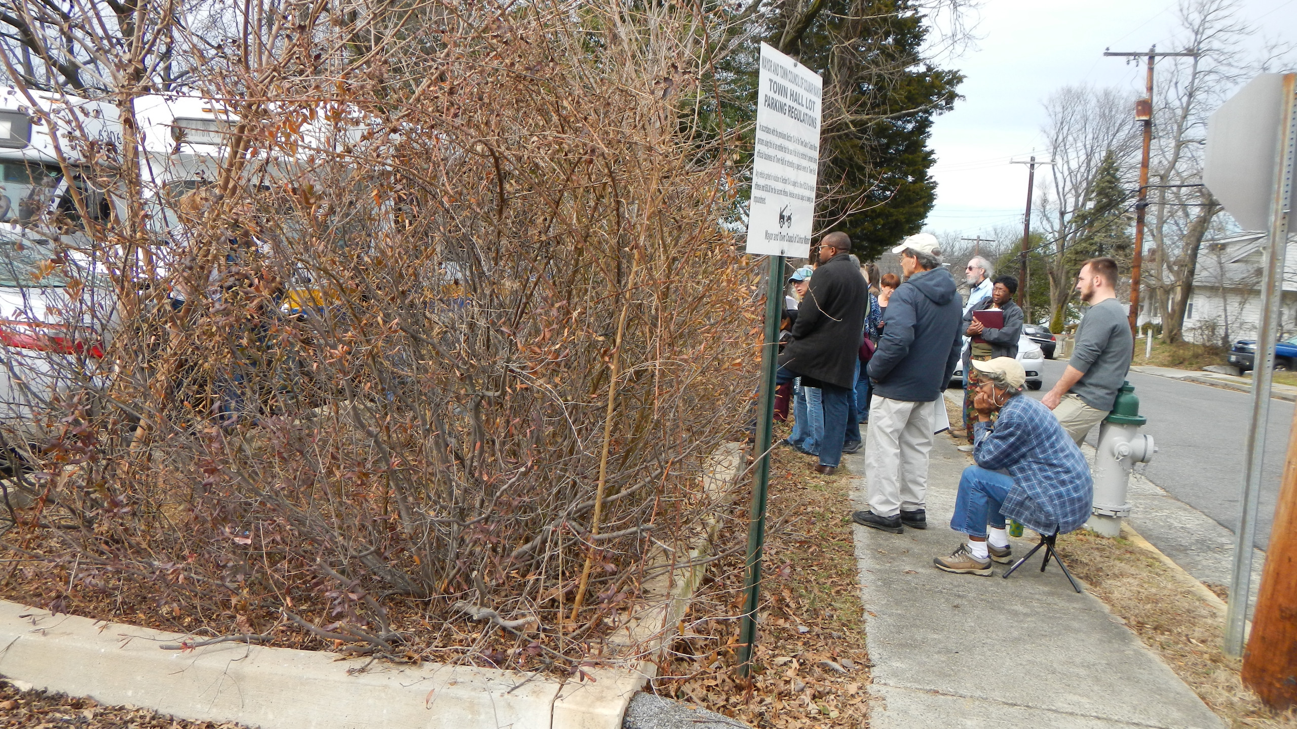 First Stop - Colmar Manor Raingarden at parking lot of community Center.