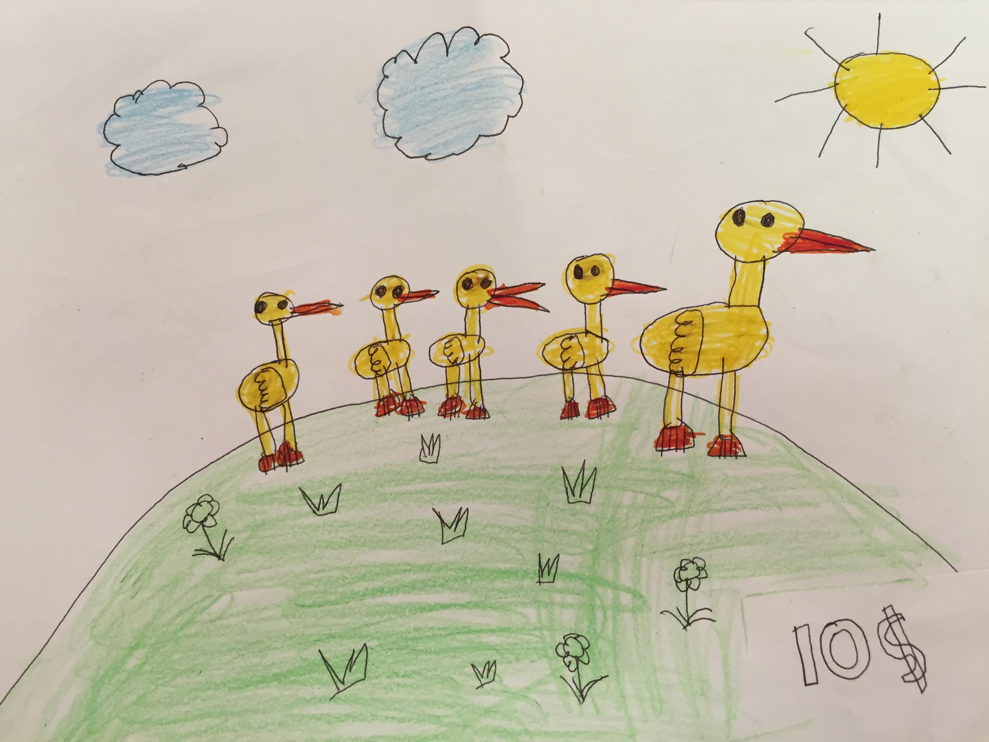 Baby ducks following a Mother Duck