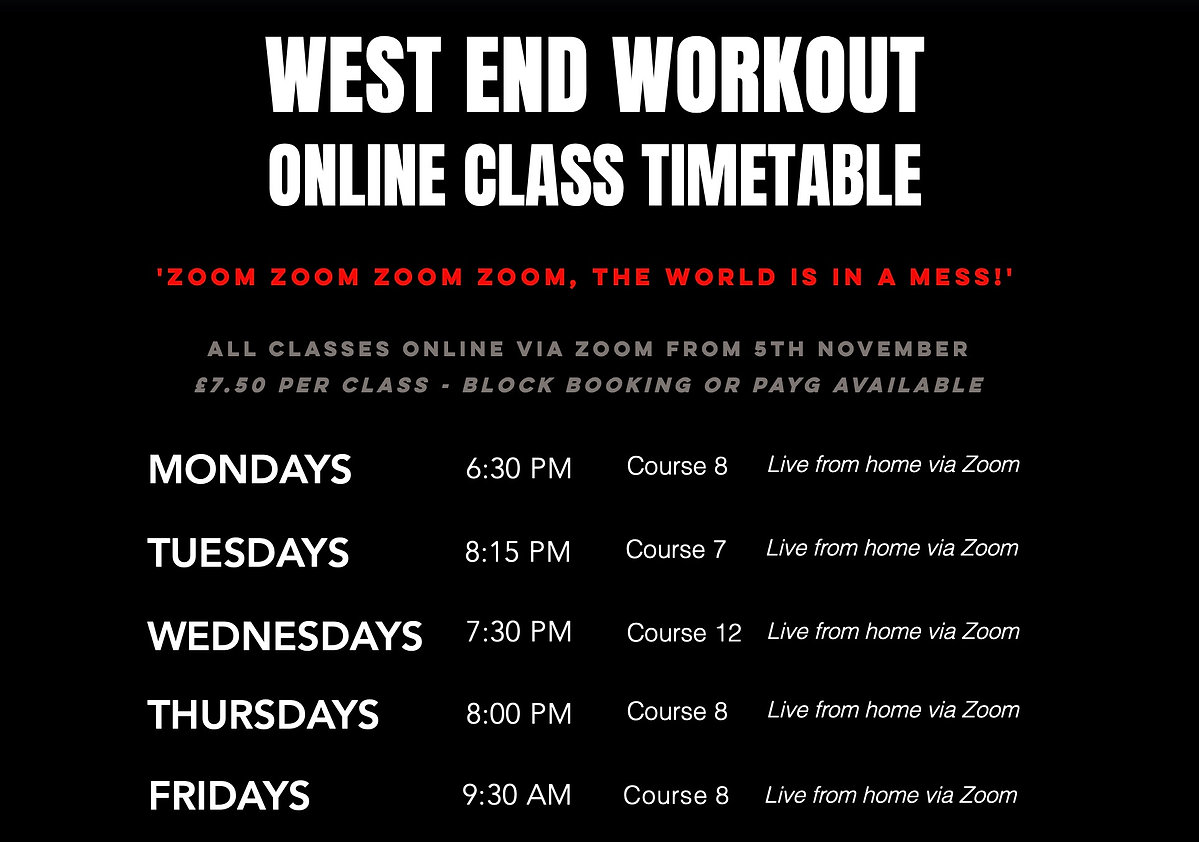 West End Workout Online Class Timetable
