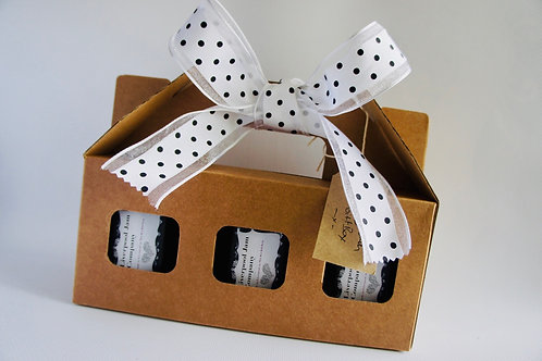 Gift Box, Bow, Tag & Decoration for 3 Jars