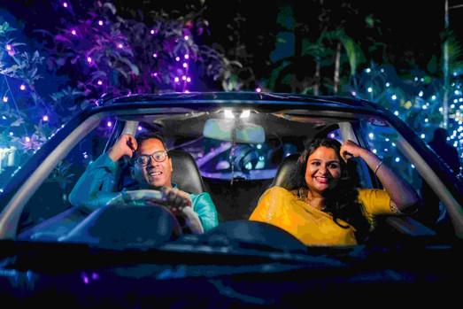 Prewedding photo inside car and lights