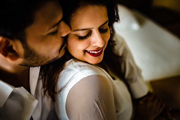 Romantic portrait photo at a prewedding shoot