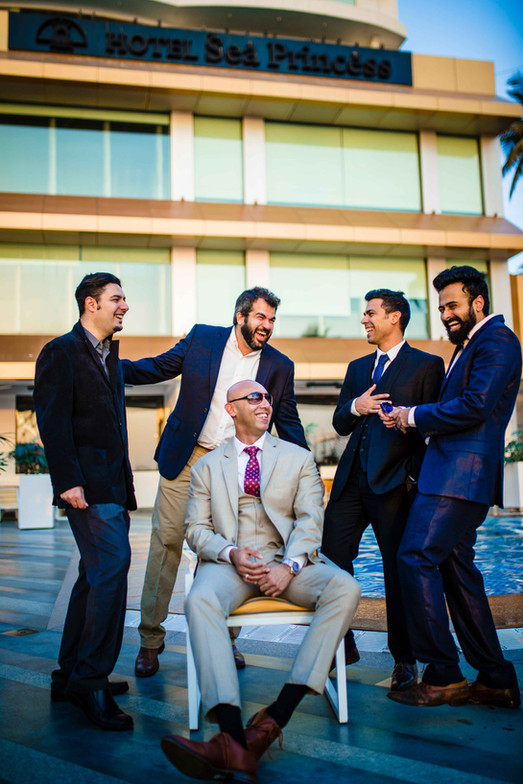 groomsmen candid photography at reception