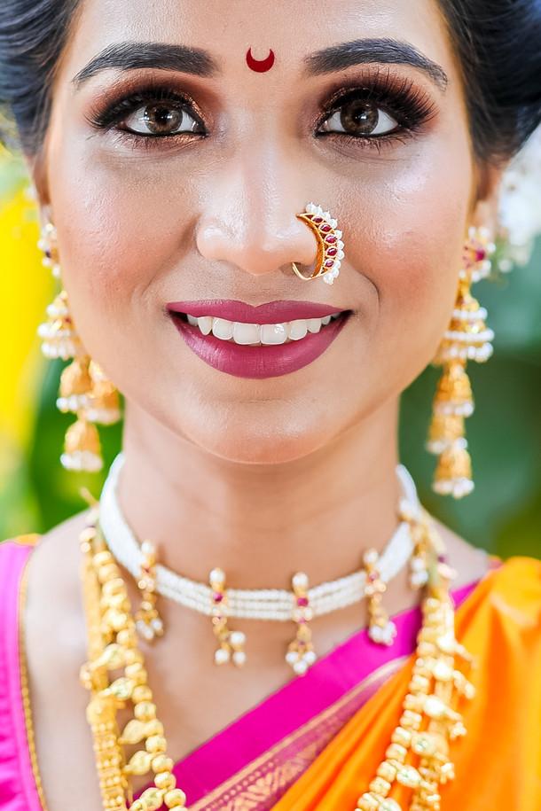 maharashtrian marathi bride close up