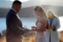 Wedding couple with celebrant in Queenstown