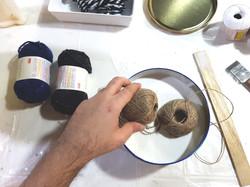 Soak yarn or hemp cord
