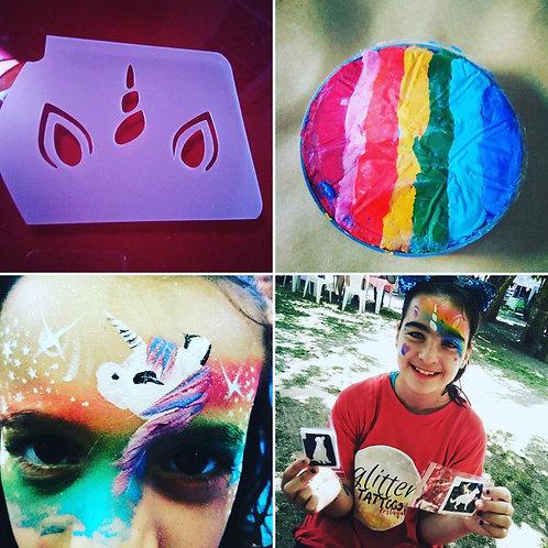 Pack Cake arco íris com stencil unicornio