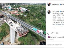 Puente Virilla RN 32: Publicación instagram del Presidente de la República