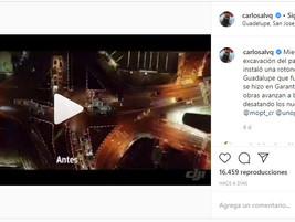 Paso a desnivel de Guadalupe: Publicación instagram del Presidente de la República