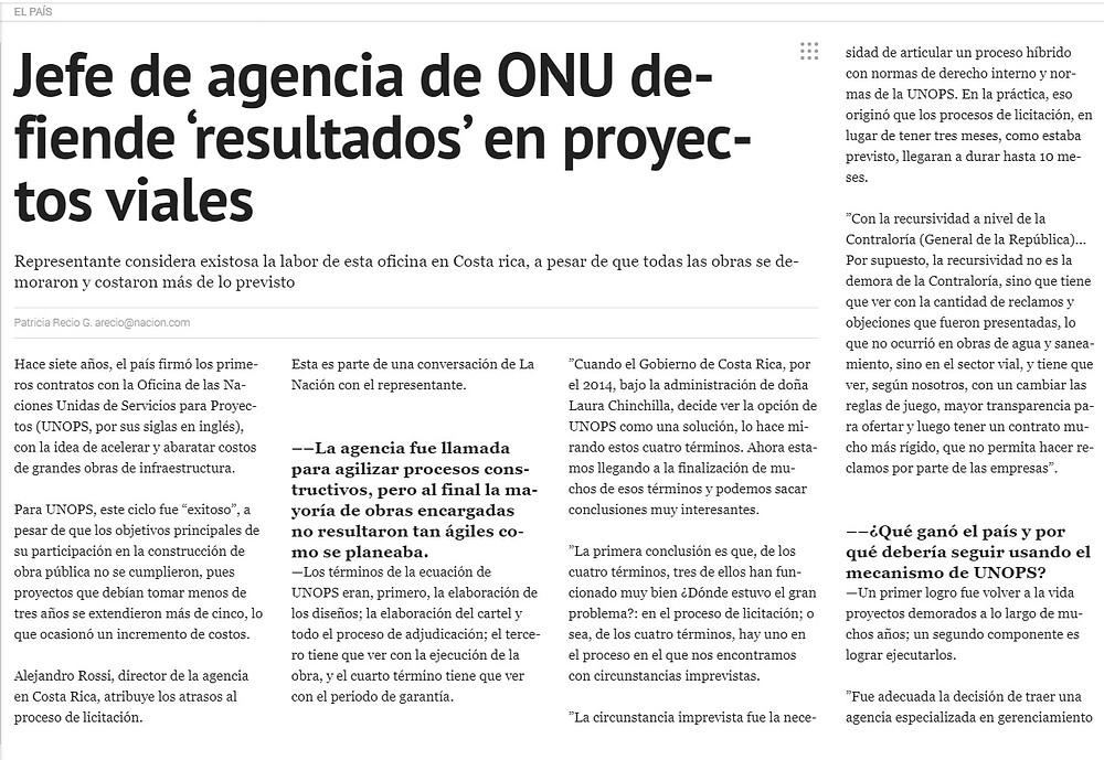 Jefe de agencia de ONU defiende 'Resultados' en proyectos viales