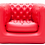 Fauteuil gonflable rouge type Chesterfield
