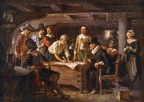 Pilgrims-Mayflower-Compact-oil-painting-