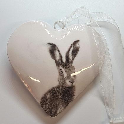 Ceramic Hare Hanging Heart