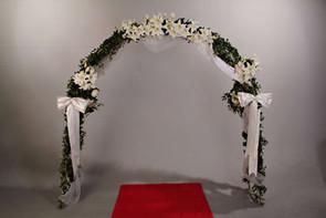 floral bridal arch red carpet