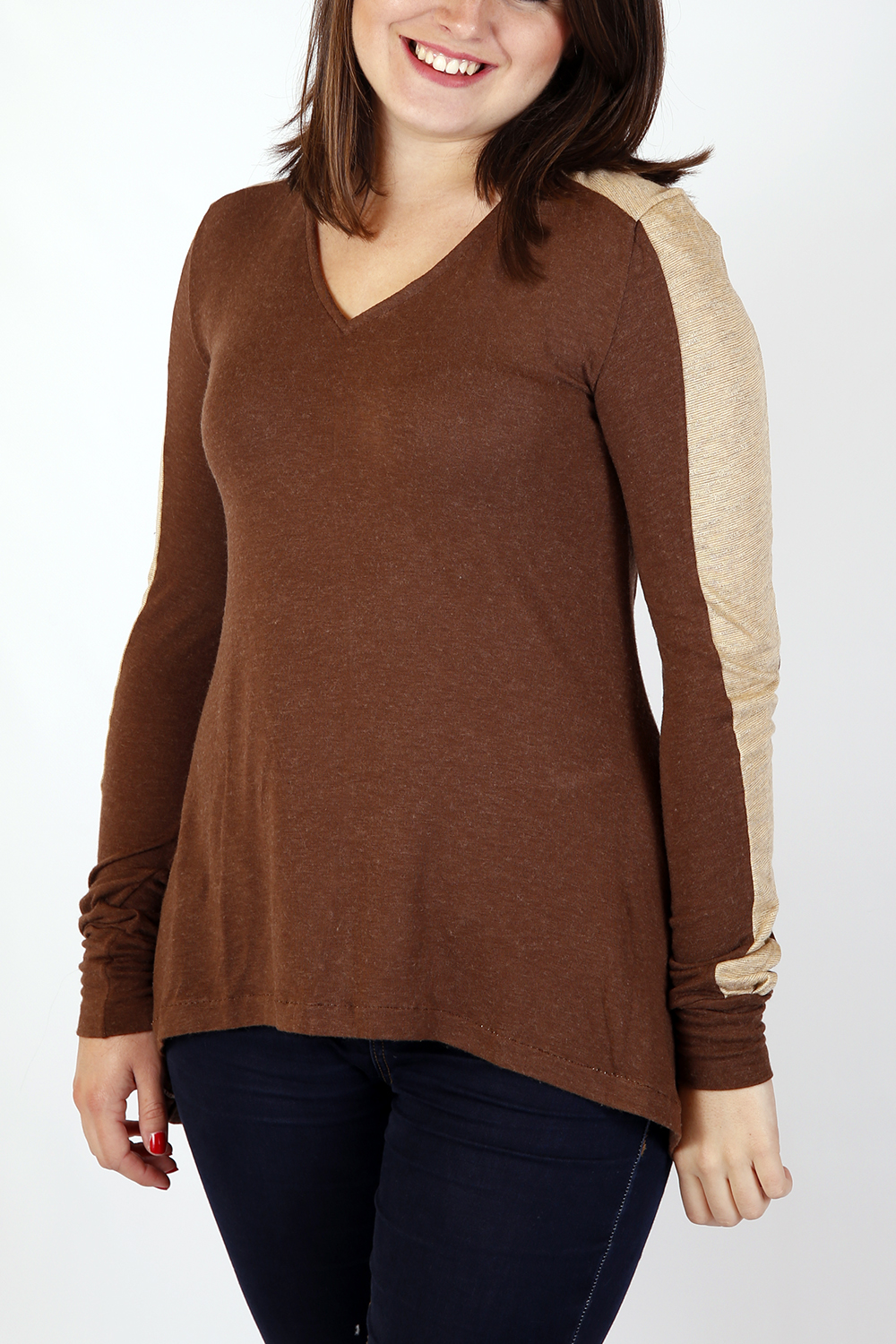 Top marron et beige