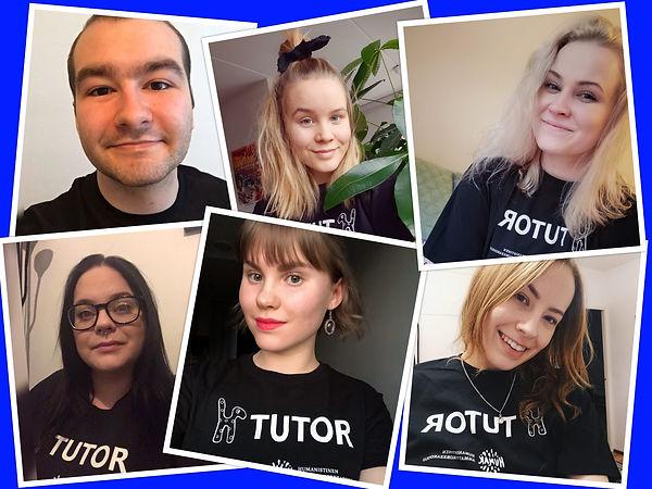 Kollaasi Turun tutoreissa. Kuvassa kuuden tutorin selfie. Tutoreilla on päällään mustat t-paidat, jossa lukee TUTOR.