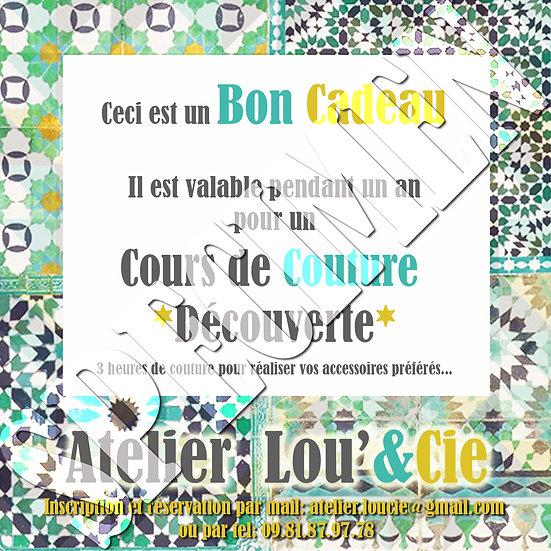 Bon Cadeau Cours de Couture DECOUVERTE Adulte