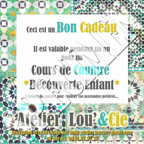 Bon Cadeau Cours de Couture DECOUVERTE Enfant