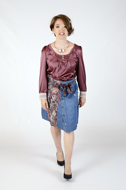 Blouse prune et Jupe jeans