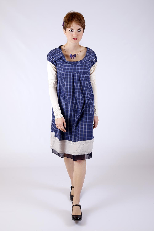 Robe bleu à carreaux