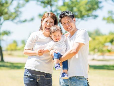 子どもと家族の写真(岡山市南区)