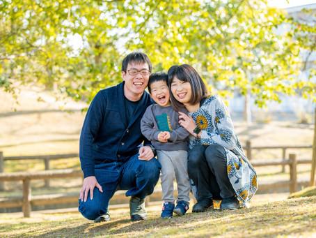 子どもと家族の写真(広島県府中市)