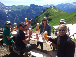 Pizza and beer on top of a mountain? Yes please.
