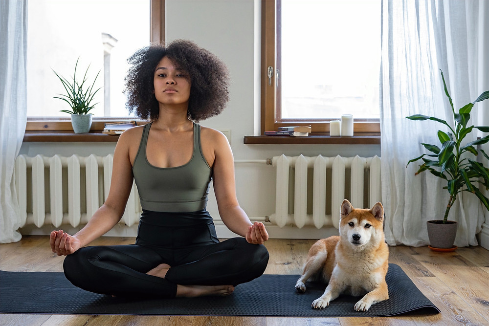 a young woman meditates alongside a dog