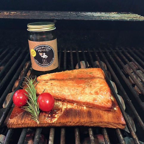 Minorcan Mike's Grilled Salmon Datil Pepper Salsa Jelly Sauce Hot Sauce Minorcan Mike St Augustine Florida