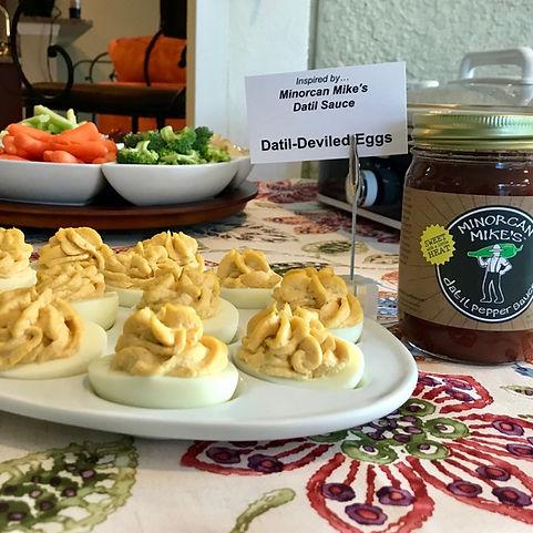 Minorcan Mike's Datil Sauce Deviled Eggs Datil Pepper Jelly Salsa Hot Sauce Minorcan Mike St Augusine Florida