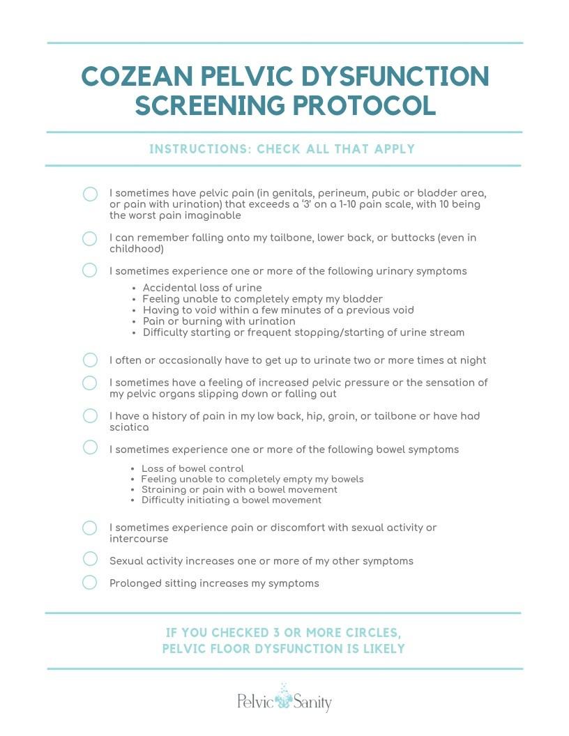 Cozean Screening Tool by Nicole Cozean of Pelvic Sanity