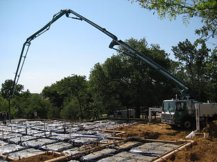 Concrete pump truck custom home foundation