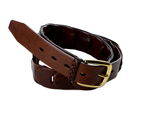Maranoa Leather Belt Hand Plaited w/ Brass Buckle