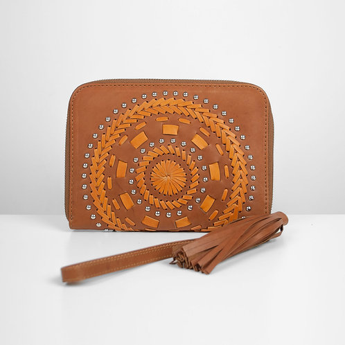 Two-tone Mandala clutch