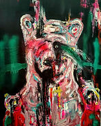 Teddy and the nightmares,50x70,mixmedia