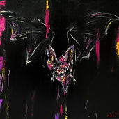 bat flying vision 01, 30x30cm, oil and a