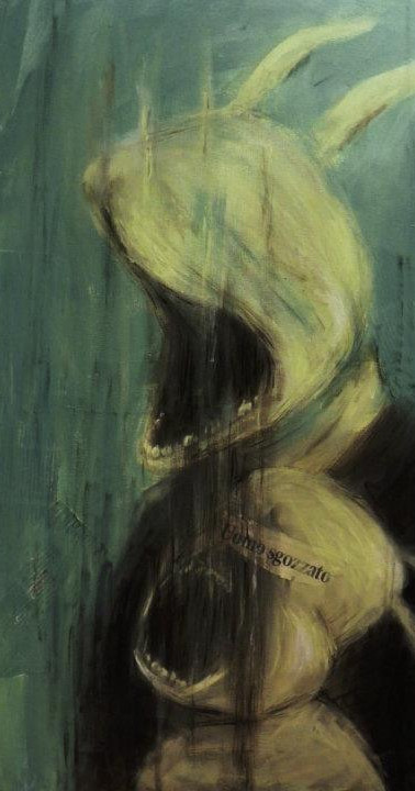 L'eterno uomo sgozzato, 50x70, acrilico