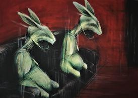Rabbits, 120 x 100, acrilico su tela, an