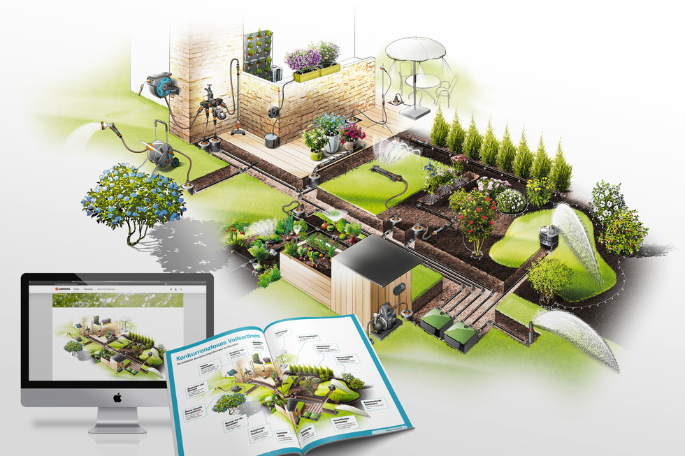 Illustration Illustration Complete irrigation system