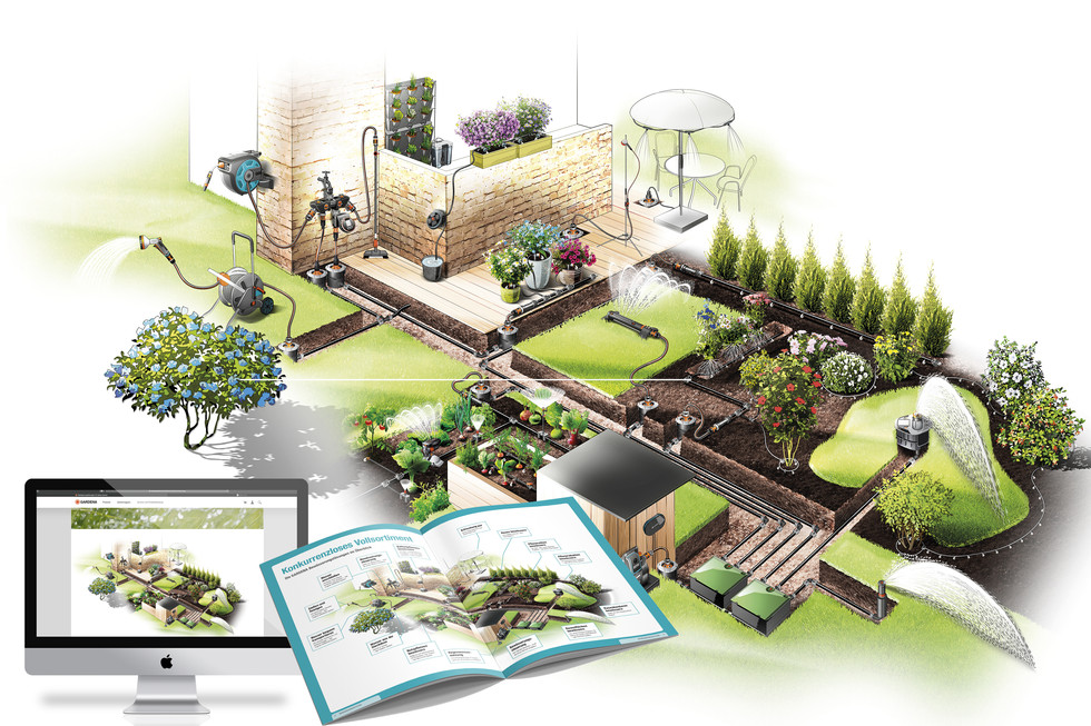 View of the complete irrigation system  Overview of the application