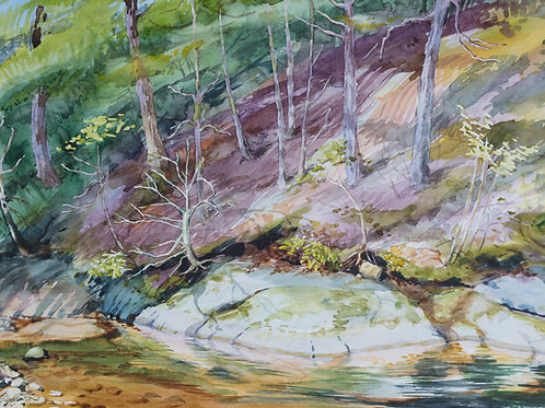 Sally Sargent Markey - Old Swimming Hole - Original Watercolor