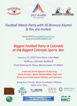 Football Watch Party with Broncos Alumni 01/19/20