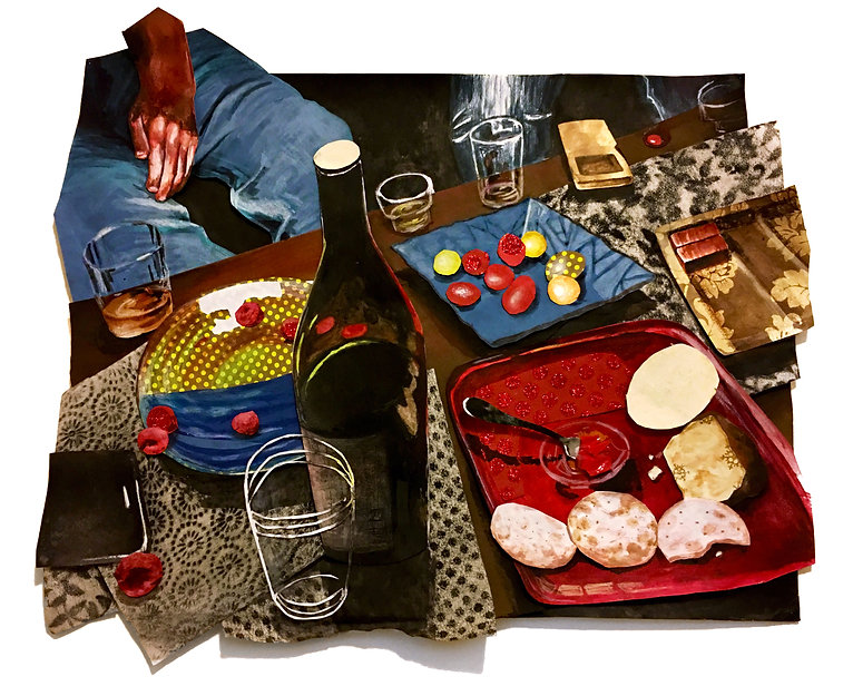 A cutout collage of a wine bottle and food at a night party with friends by Sofiya Kuzmina