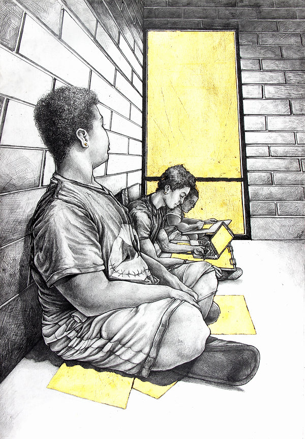 Golden Cage graphite drawing by Sofiya Kuzmina